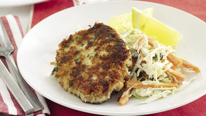 Pork schnitzels with coleslaw