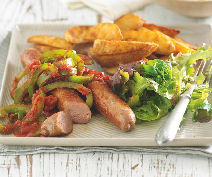 Sausages with Capsicum Braise