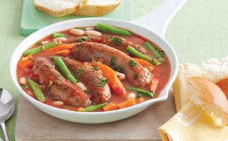 Braised Lamb Sausage and Beans