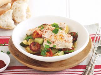 Fish and chorizo hotpot