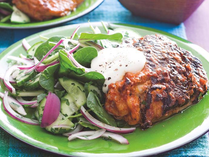 "**[Tandoori chicken with cucumber salad](https://www.womensweeklyfood.com.au/recipes/tandoori-chicken-with-cucumber-salad-20978|target=""_blank"")**"