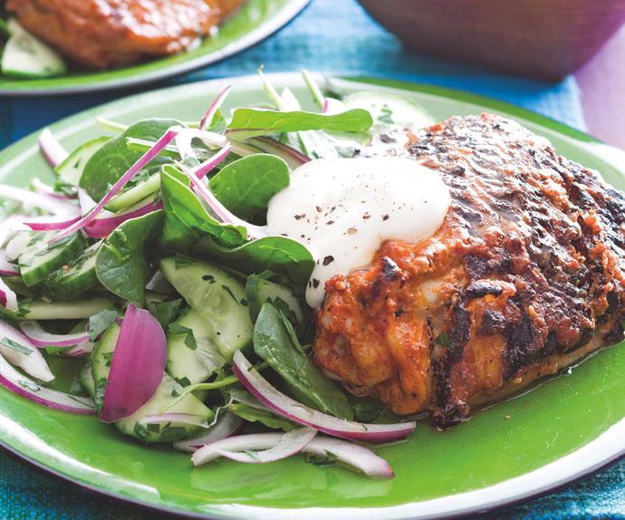 Tandoori chicken with cucumber salad