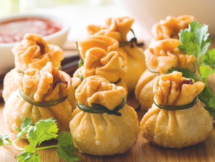 "**[Money bag dumplings](https://www.womensweeklyfood.com.au/recipes/money-bag-dumplings-20396|target=""_blank"")**"