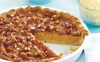 Pumpkin pie with pecan praline