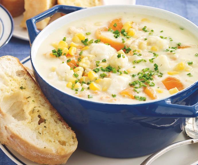 Seafood Chowder with Garlic Bread