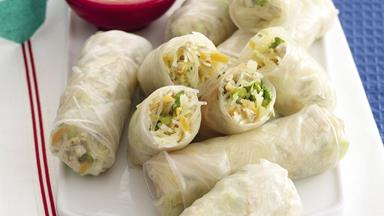 Loaded Thai rice paper rolls