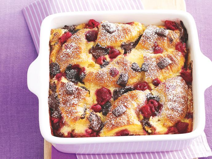 "**[Chocolate and raspberry croissant pudding](https://www.womensweeklyfood.com.au/recipes/chocolate-and-raspberry-croissant-pudding-20616|target=""_blank"")**  A truly indulgent bread and butter pudding that uses croissants with added chocolate and berries to take it up a notch."