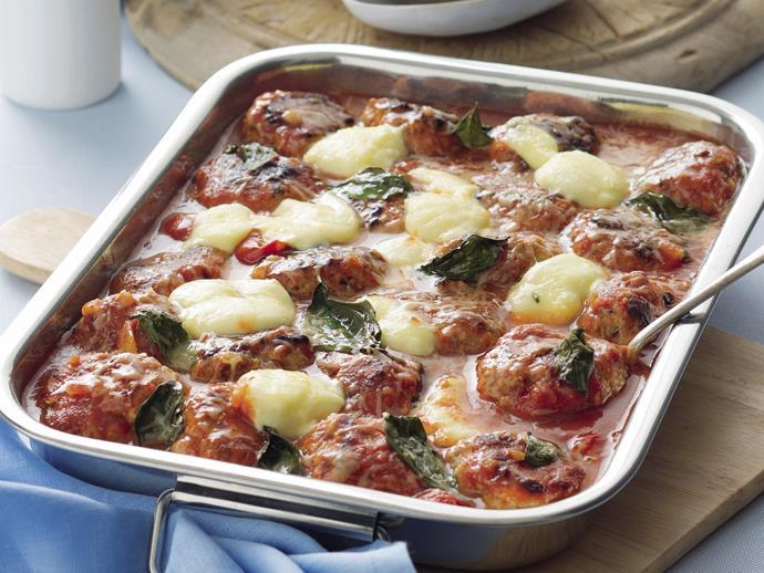 "**[Baked pork meatballs in tomato sauce](https://www.womensweeklyfood.com.au/recipes/baked-pork-meatballs-in-tomato-sauce-20665 target=""_blank"")**"