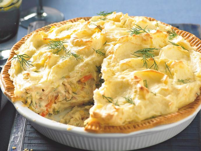 "**[Tuna shepherd's pie](https://www.womensweeklyfood.com.au/recipes/tuna-shepherds-pie-20683|target=""_blank"")**  The perfect dinner option when your cupboard is bare, but for some frozen mixed veg, canned tuna and a couple of sheets of frozen pastry."