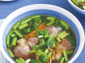Beef Wonton Soup with Asian Greens