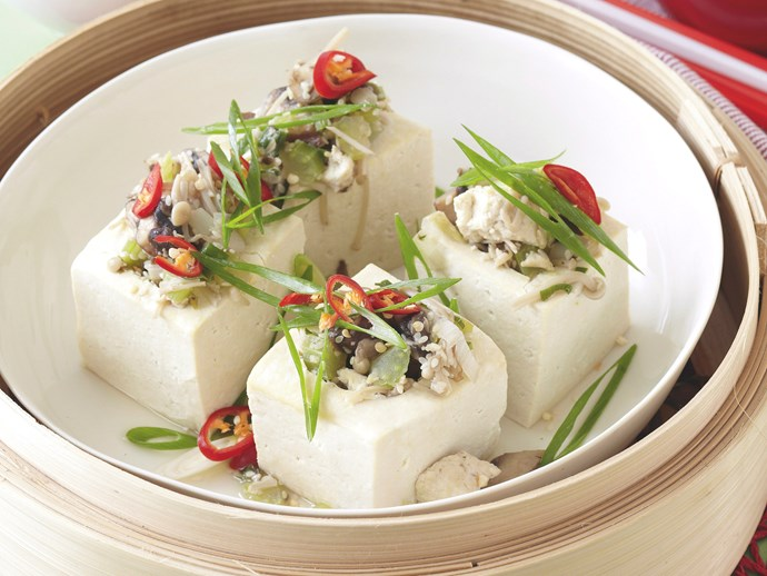 Mushroom and Sesame Stuffed Tofu