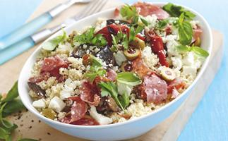 Couscous, Salami and Vegetable Salad