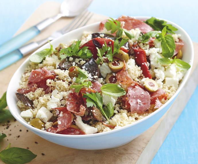 Couscous, Salami and Vegetable Salad