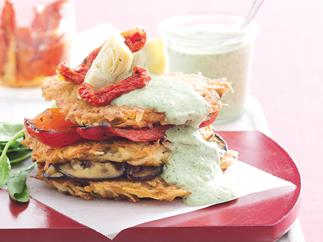 Antipasto and hash brown stack