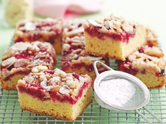 Raspberry and Vanilla Crumble Slice
