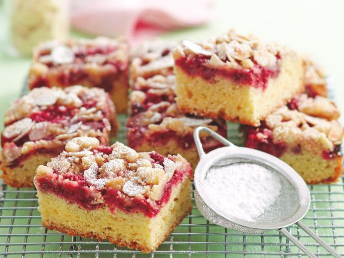 "**[Raspberry and vanilla crumble slice](https://www.womensweeklyfood.com.au/recipes/raspberry-and-vanilla-crumble-slice-26339|target=""_blank"")**  This gorgeous dessert is a flavour and texture sensation that will delight your friends and family. A sweet, gooey raspberry topping sits beautifully atop a fluffy, vanilla slice. Add a crumbly, almond topping for extra crunch."
