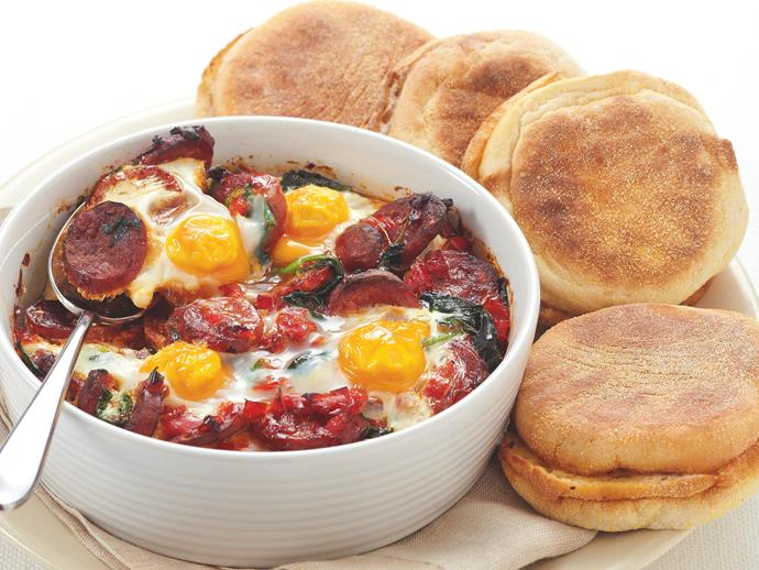 """**[Chorizo baked eggs](https://www.womensweeklyfood.com.au/recipes/chorizo-baked-eggs-20205