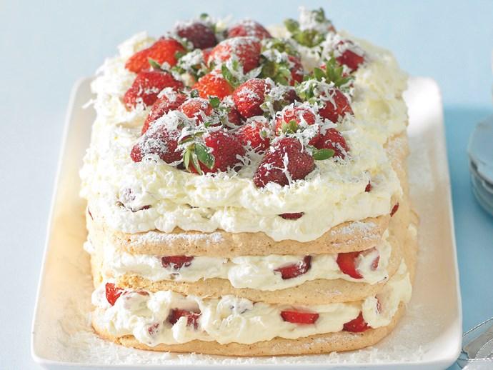 White Chocolate and Strawberry Meringue Cake