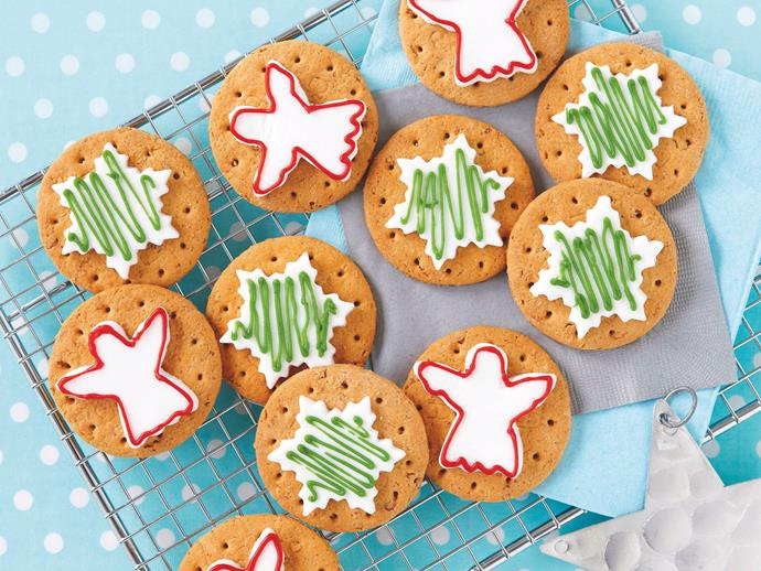 "**Easy Christmas cookies** <br><br> For all the Christmas spirit without the effort, these easy cookies are a treat – just decorate and go! <br><br> [**Read the full recipe here**](https://www.womensweeklyfood.com.au/recipes/easy-christmas-cookies-26346|target=""_blank"")"