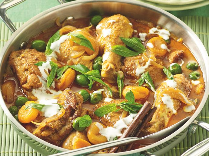"**[Moroccan lemon chicken:](https://www.womensweeklyfood.com.au/recipes/moroccan-lemon-chicken-20308|target=""_blank"")** Deliciously simple. Take one whole chicken, add apricots, lemon, Moroccan spices and olives. Serve with couscous and mint. Yum!"
