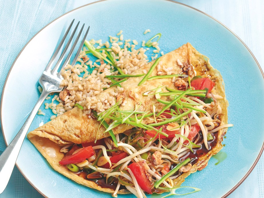 "**[Asian omelette](https://www.womensweeklyfood.com.au/recipes/asian-omelette-26348|target=""_blank"")** Omelettes are no longer restricted to breakfasts - enjoy this delicious Asian spiced vegetarian omelette any time of the day."
