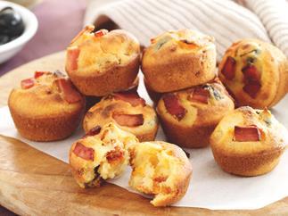 Mini Polenta, Olive and Tomato Muffins