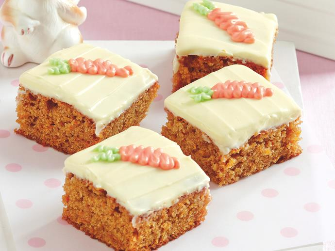 """Lightly spiced with cinnamon, this [carrot cake slice](https://www.womensweeklyfood.com.au/recipes/carrot-cake-slice-20353