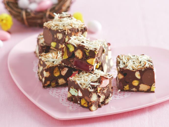 """**[Easter egg rocky road slice](https://www.womensweeklyfood.com.au/recipes/easter-egg-rocky-road-27910