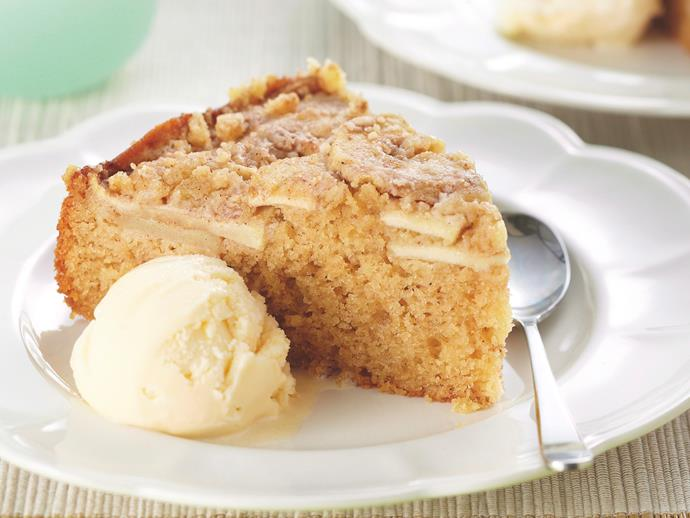 "Deliciously moist, this [sour cream and apple cake](https://www.womensweeklyfood.com.au/recipes/apple-sour-cream-cake-27826|target=""_blank"") is perfect served straight from the oven with a dollop of ice-cream."