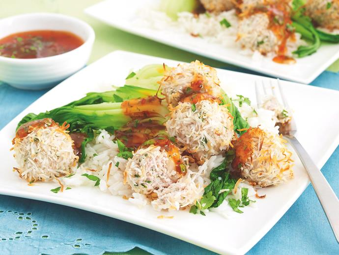 """These tasty [Thai spiced meatballs](https://www.womensweeklyfood.com.au/recipes/chicken-and-coriander-meatballs-26354 target=""""_blank"""") are infused with a fragrant coriander and rolled in crunchy coconut for an authentic flavour kick. Serve up with steamed Asian greens and a sweet chilli dipping sauce for a tasty and nutritious dinner."""