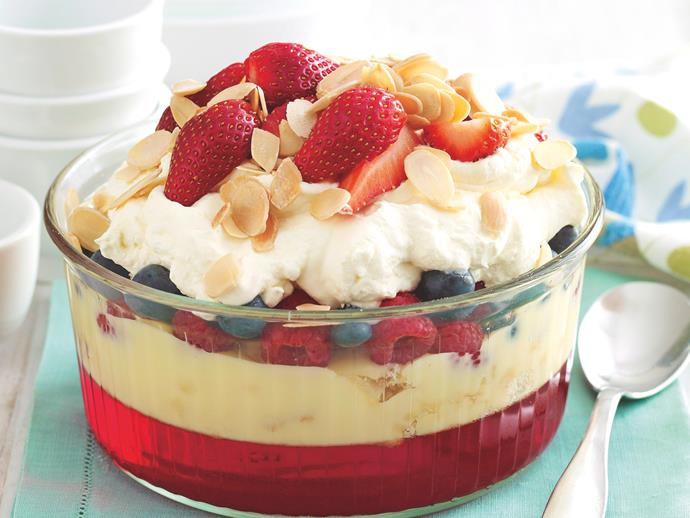 """**[Summer mixed berry trifle](https://www.womensweeklyfood.com.au/recipes/summer-mixed-berry-trifle-27808