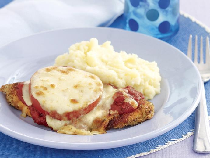 """**[Chicken schnitzel parmigiana](https://www.womensweeklyfood.com.au/recipes/chicken-schnitzel-parmigiana-28307