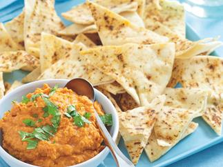 Roast Capsicum Hummus with Pita Chips