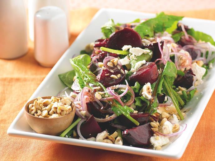 "**[Caramelised beetroot, rocket and feta salad](https://www.womensweeklyfood.com.au/recipes/caramelised-beetroot-rocket-and-feta-salad-19811|target=""_blank"")**"