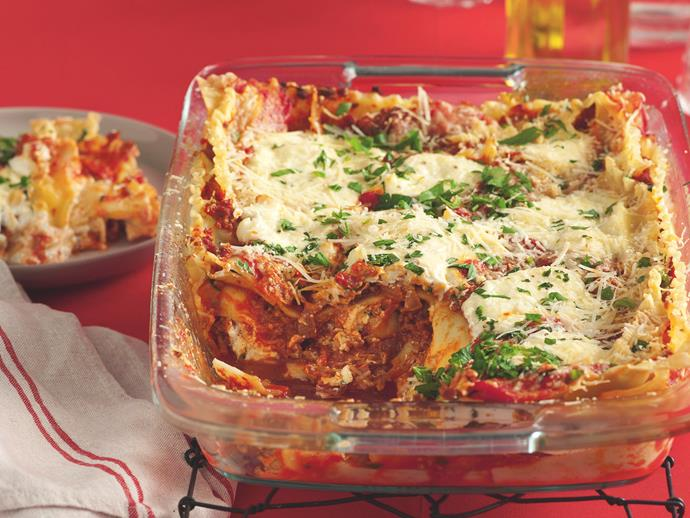 "**[Beef and ricotta lasagne](https://www.womensweeklyfood.com.au/recipes/beef-and-ricotta-lasagne-19814|target=""_blank"")**  The addition of creamy ricotta in this traditional Italian pasta bake adds an exceptional flavour and texture element to this lasagne."