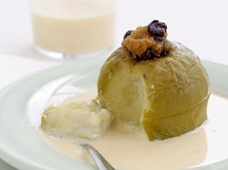 Baked stuffed apples with creme anglaise