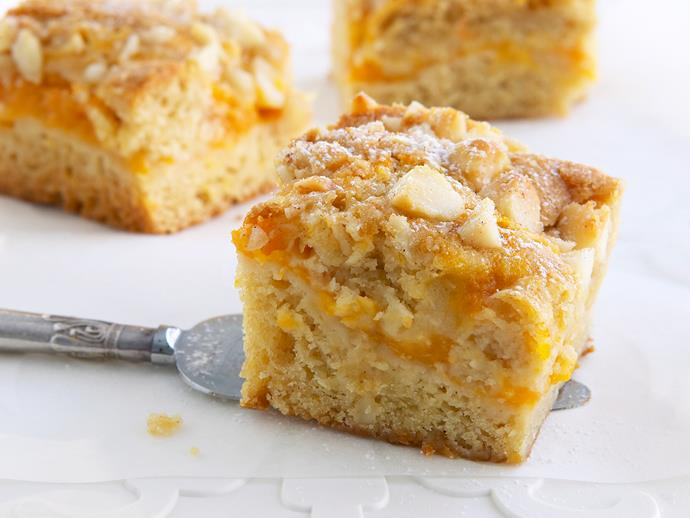 """This crumbly [macadamia and apricot slice](https://www.womensweeklyfood.com.au/recipes/apricot-and-macadamia-slice-26380