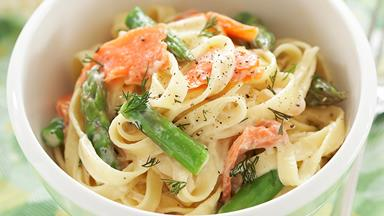 Asparagus and smoked trout pasta