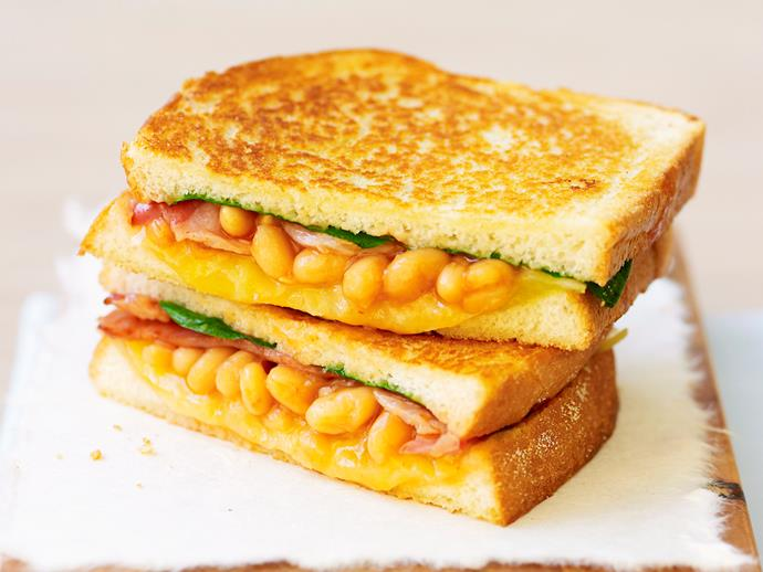 """**[Baked bean and bacon toastie](https://www.womensweeklyfood.com.au/recipes/baked-bean-and-bacon-toastie-19893