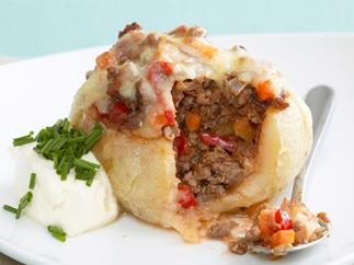 bolognese-stuffed potatoes