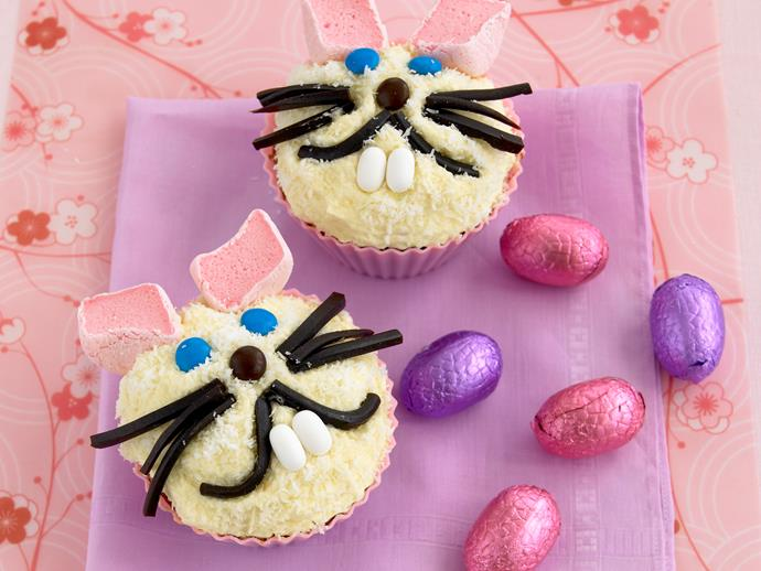 """These adorable **[Easter bunny cupcakes](https://www.womensweeklyfood.com.au/recipes/easter-bunny-cupcakes-recipe-19949