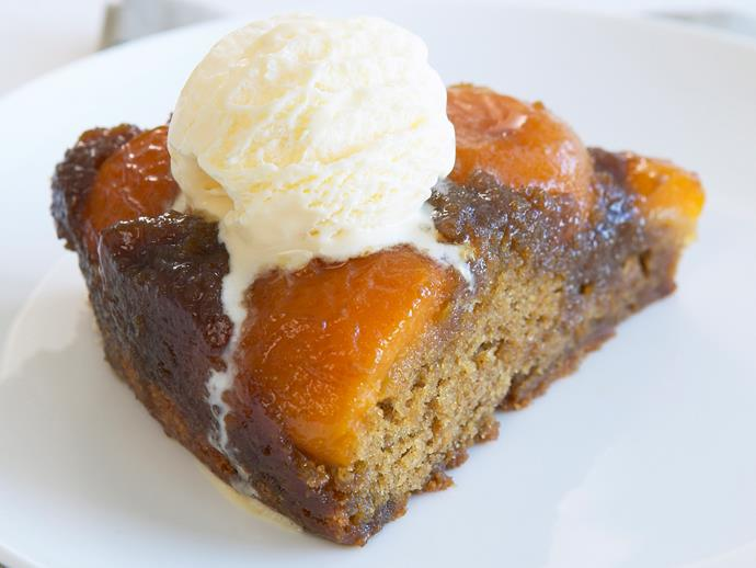 "**[Caramelised apricot upside-down cake](https://www.womensweeklyfood.com.au/recipes/caramelised-apricot-upside-down-cake-19957|target=""_blank"")**"