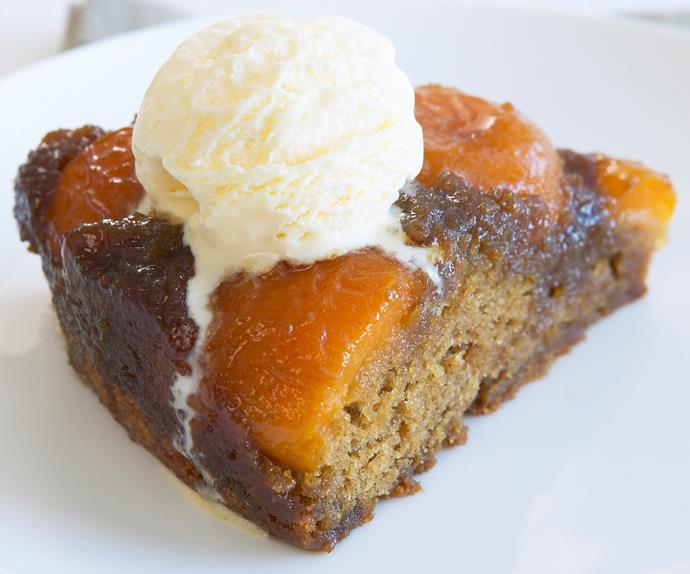 caramelised apricot upside-down cake