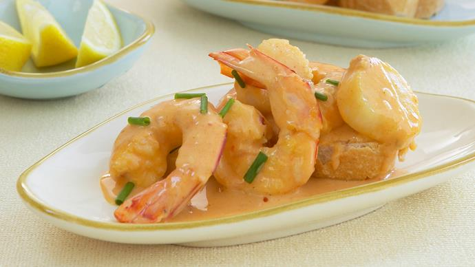 Creamy garlic prawns and scallops
