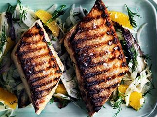 Barbecued kingfish with radicchio, fennel and orange salad