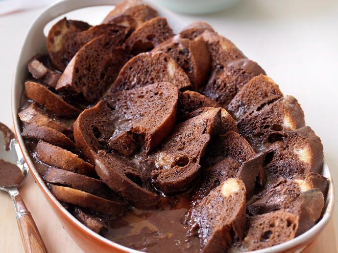 """**[Chocolate bread and butter pudding](https://www.womensweeklyfood.com.au/recipes/chocolate-bread-and-butter-pudding-25494