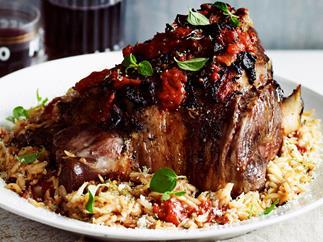 Greek-style roast lamb with pasta