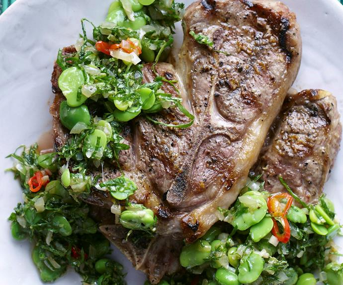 Grilled lamb chops with broad bean vinaigrette