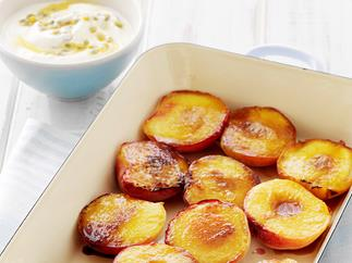 Grilled Nectarines with passionfruit Swirl Yogurt