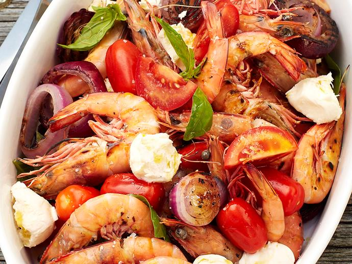 "**[Prawn caprese salad](https://www.womensweeklyfood.com.au/recipes/prawn-caprese-salad-25526|target=""_blank"")**"